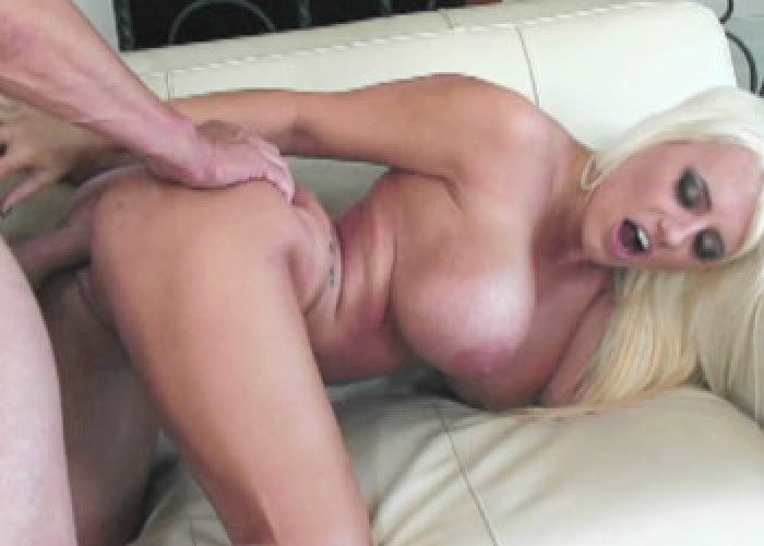 Bouncy blonde Jacky takes some dick
