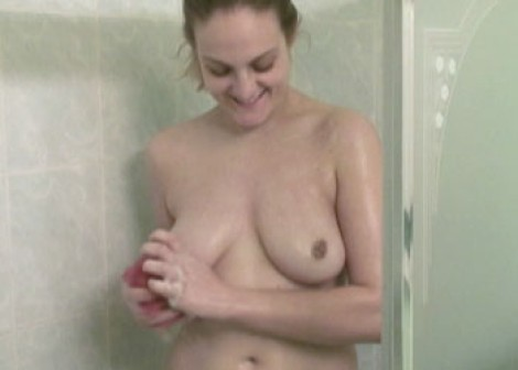 Curvy blonde Danni in the shower